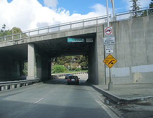 California County Routes in zone G - Oregon Expressway passing under Alma Street.