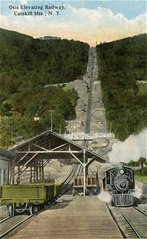 Otis Elevating Railway - The Otis Junction Station after the railroad's reconstruction in 1904.
