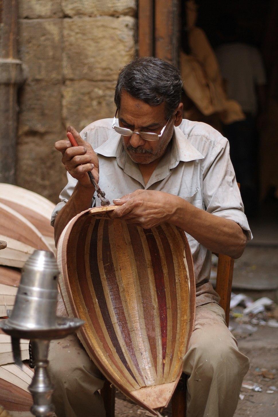 Oud maker at Mohamed Ali Street in Cairo, Egypt
