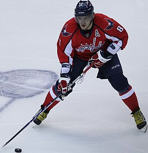 Alexander Ovechkin - Ovechkin, then an alternate captain, during the 2009 Stanley Cup playoffs. The Capitals' season ended in the Conference Semifinals against the Pittsburgh Penguins while the Penguins went on to win the Stanley Cup after defeating the Detroit Red Wings.