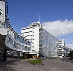 Front façade of the Van Nelle Factory in Rotterdam