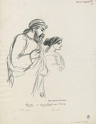 Pénélope - Muratore and Lucienne Bréval as Ulysse and Pénélope, Paris, 1913, drawn by Paul Charles Delaroche