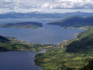 Meromictic lake - Strandvatnet in Nordland down to the left; only a small isthmus separates the lake from  Ofotfjord.