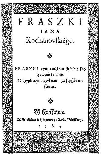 Jana Kochanowskiego Dzieła Polskie 1919fraszkicałość