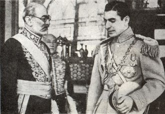 Mohammad Ali Foroughi - Foroughi at the court of Mohammad Reza Pahlavi.