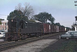 Pennsylvania-Reading Seashore Lines - PRSL train led by AS-16 6025 in Haddonfield, New Jersey in 1965