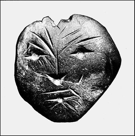 PSM V41 D609 Human face on stone ornament from susquehanna river penna.jpg