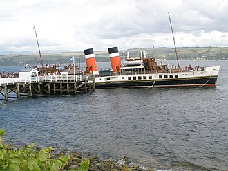 Blairmore, Argyll - Image: Paddle steamer Waverley about to leave Blairmore pier geograph.org.uk 1435364