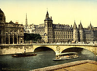 Palais de Justice and bridge to exchange, Paris, France, ca. 1890-1900.jpg