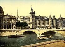 Palais de Justice and bridge to exchange, Paris, France, ca. 1890-1900.jpg