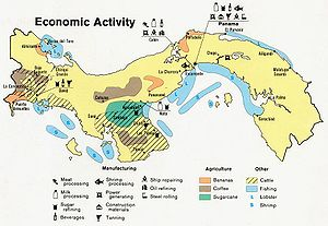 Economy of Panama - An economic activity map of Panama, 1981.