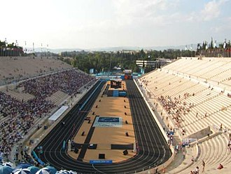 Athletics at the 1896 Summer Olympics - The renovated Panathinaiko Stadium.