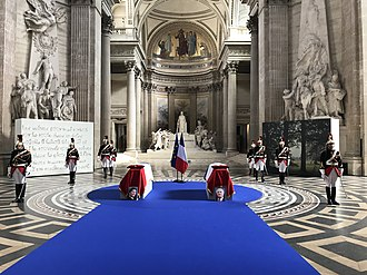 Simone Veil - Coffins of Simone and Antoine Veil lying under the Panthéon dome on July 1st, 2018.