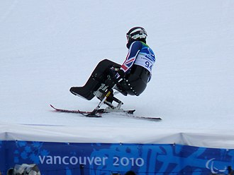 Para-alpine skiing - Talan Skeels-Piggins from Great Britain in the first run for the Men's Slalom (Sitting), at the Winter Paralympics 2010 in Vancouver, Canada.