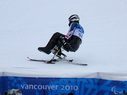 Alpine skiing: Talan Skeels-Piggins from Great Britain at the Winter Paralympics 2010 in Vancouver. Paralympic 2010 - Alpine skiing - Talan Skeels-Piggins.jpg