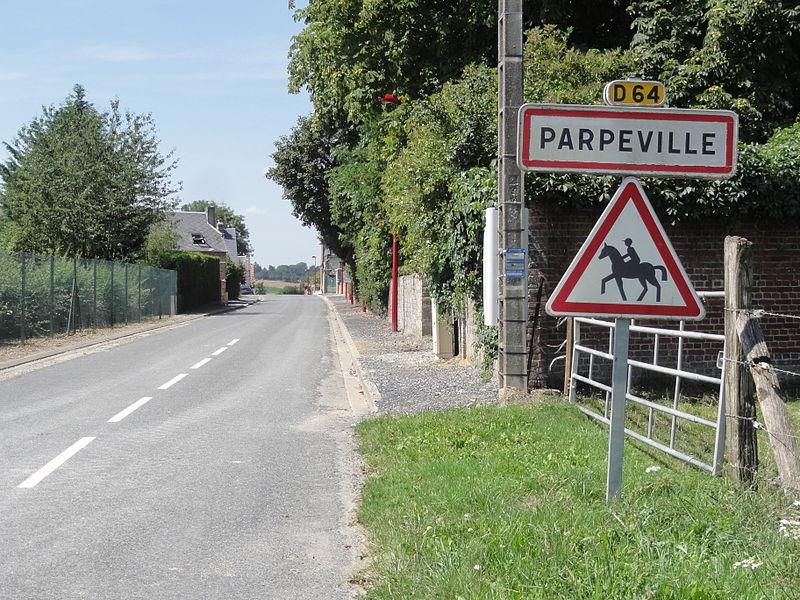 Parpeville (Aisne) city limit sign