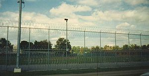 Gowanda Correctional Facility - Partial View of Medium Security Fencing at Gowanda Correctional Facility, South Side, September 1996