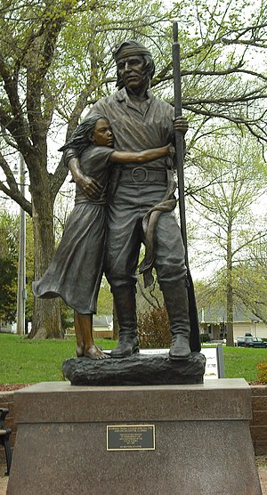 Eudora, Kansas - Statue of Pascal Fish and his daughter Eudora (2011)