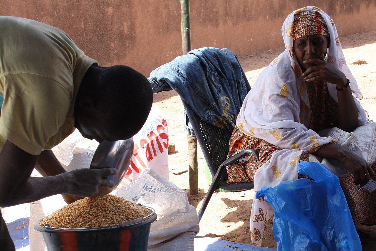 File Patiently Waiting For Food Aid In Bamako Mali