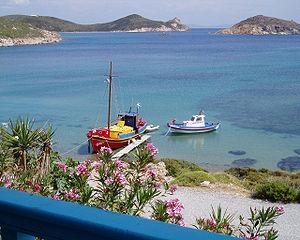 The beach Livadi of Patmos (Greek island)
