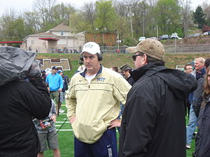 2012 Pittsburgh Panthers football team - New head coach Paul Chryst being interviewed after the spring Blue and Gold game