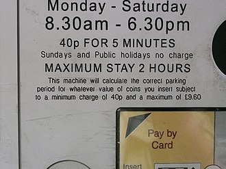 "Pay and display - Message reads ""This machine will calculate the correct parking period for whatever value of coins you insert subject to a minimum charge of 40p and a maximum of £9.60"""