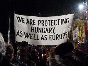 Budapest Museum Quarter -  2012 Pro Government demonstration