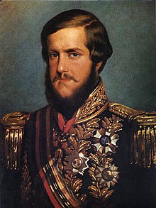 Half-length portrait from a photograph showing the young, bearded Emperor Pedro II in full uniform with sash of office and various medals