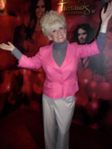 Waxwork of the iconic Peggy Mitchell displayed in Blackpool