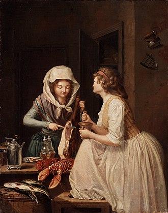1794 in Sweden - Pehr Hilleström-Tvänne Qvinnor, den ena skär skinka, den andra stöter peppar