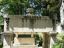 Tomb of Molière in Le Père Lachaise Cemetery. La Fontaine's grave can be seen right behind.