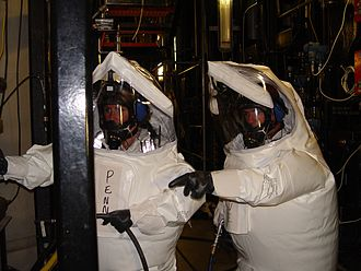 Newport Chemical Depot - Two workers in demilitarization protective ensemble (DPE) performed maintenance work in an area of the Newport Chemical Agent Disposal Facility (NECDF) where chemical agent may have been present.