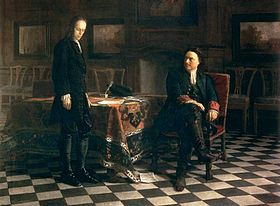 Pierre le Grand interrogeant le tsar�vitch Alexis. Tableau de Nikola� Gay, 1871.