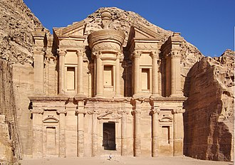 """2002 World Monuments Watch - The Jordanian site of Petra, renowned for its rock-cut architecture, was famously described as """"a rose-red city half as old as time"""" in a Newdigate prize-winning poem by John William Burgon."""