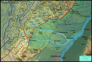 Moder (river) - Map of the Moder's drainage basin