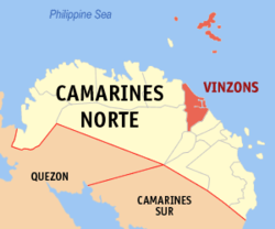 Map of Camarines Norte with Vinzons highlighted