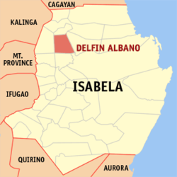 Map of Isabela showing the location of Delfin Albano