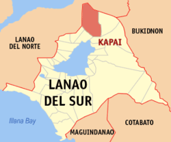 Map of Lanao del Sur with Kapai highlighted
