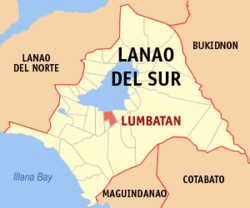 Map of Lanao del Sur with Lumbatan highlighted