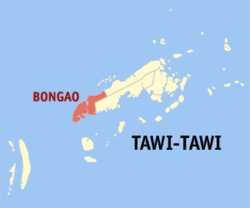 Map of تاوی تاوی showing the location of Bongao