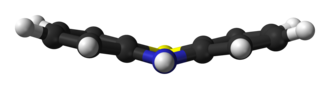 Phenothiazine - Image: Phenothiazine non planar Mc Dowell 3D balls