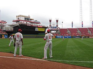 2012 Philadelphia Phillies season - Some of the Phillies warming up for a Labor Day game against the Cincinnati Reds.