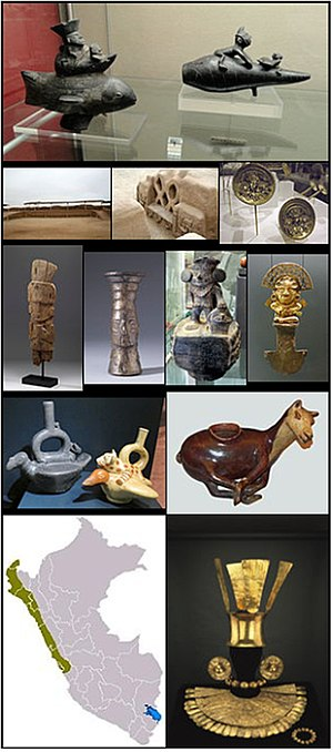 Chimú culture - Chimú pottery and ceramics, Chan Chan, Gold ceremonial dress, A map of Chimu cultural influence within Peru.