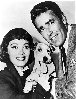 The Thin Man (TV series) - Phyllis Kirk, Peter Lawford, and Asta the dog, 1957.