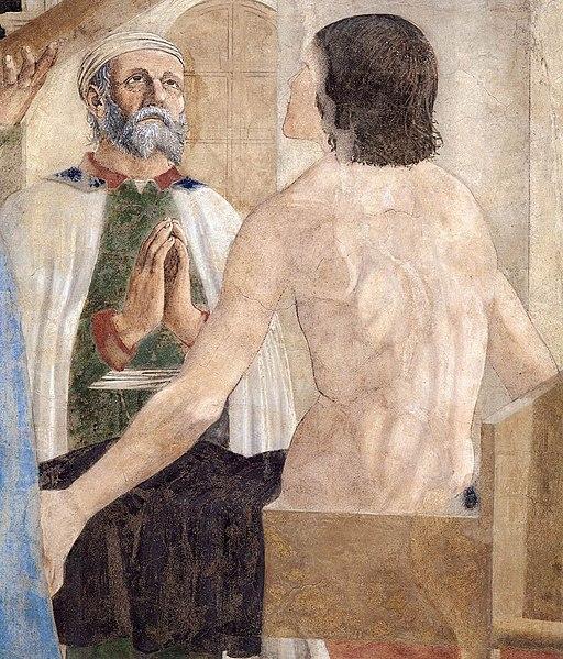 Piero della Francesca, Le Storie della Vera Croce, Verifica e Adorazione della Croce (particolare, miracolo della resurrezione), Basilica di San Francesco, Arezzo