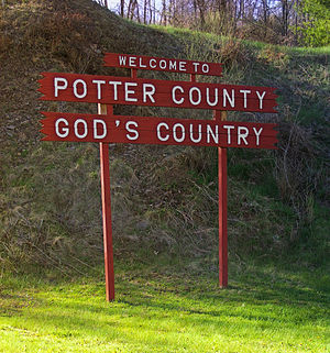 Potter County, Pennsylvania - Welcome sign to Potter County