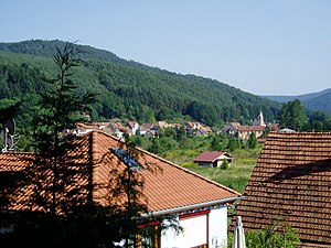 Philippsbourg - View of the village and the valley of the Falkensteinerbach