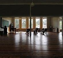Inside a restored school.