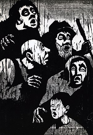 Jacob Pins - Blind People (1957), woodcut