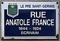 Plaque Rue Anatole France - Le Pré-Saint-Gervais (FR93) - 2021-04-28 - 1.jpg